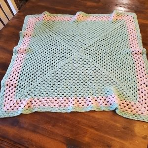 Handmade Crocheted Pink and Green Square Blanket